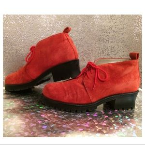 Vintage Red Suede Lace Up Ankle Boots